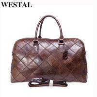HBP Westal الرجال حقيبة سفر جلد طبيعي الرجال اليد الأمتعة السفر واق حقيبة عارضة عطلة نهاية الأسبوع حقيبة حمل كبيرة على حقيبة الأمتعة 8885