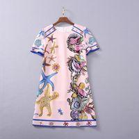 유럽 및 미국 여성 의류 2021 새로운 봄 반팔 못 비드 불가사리 인쇄 유행 드레스