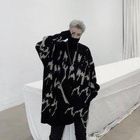 Мужские свитера Uncledonjm Men Streetweart Retro Tail Cread Pattern Hip Hop Осенью водолазки Негабарита свободно подходит мужской свитер KK12981