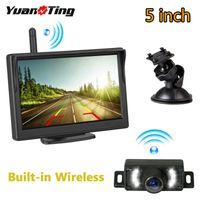 Cámaras de visión trasera Cámaras Sensores de estacionamiento Yuanting Foream-in Wireless Placa 7 IR LED Visión nocturna Cámara de respaldo 5 pulgadas LCD Pantalla Monit