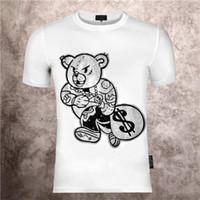 Collo rotondo da uomo stampato Phillip Pianurale Teddy Bear Cartoon personalità Hot Diamond Stampa Estate Slim T-shirt manica corta