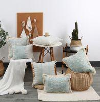 القطن الكتان نمط هندسي وسادة حالة الإبداعية الزخرفية الأخضر وسادة تغطي المنزل أريكة وسادة 45 * 45 سنتيمتر 30 * 50 سنتيمتر لا ملء