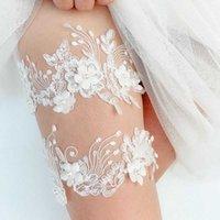 Neue 2 Stück Hochzeit Gürtel Weiß Stickerei Blumen Sexy Strumpfband Frauen Braut Spitze Beinschleife