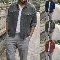 남자 재킷 패션 2021 남자 긴 소매 자켓 코트 겨울 따뜻한 코듀로이 데님 인디 모드 레트로 VTG 코드 버튼 포켓 outwear