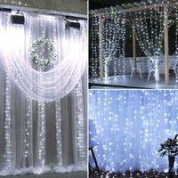 18m x 3m 1800-LED luce bianca Natale romantico natale nozze decorazione all'aperto tenda corda stringa luce US standard caldo bianco ZA000939