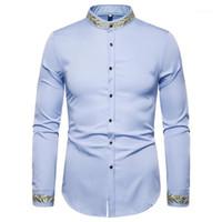 Chemises occasionnelles pour hommes KLV Chemise pour hommes de style automne Mode brodé manches longues vintage imprimé occasion1