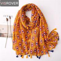 Visrover 2020 New Hijab Scarves Summer Spring Scarf For Women Shawl Eyes Print Beach Dress Wrap Bohemian Scarf Lady Dropshipping
