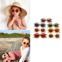 무료 DHL 7 색 귀여운 INS 키즈 아기 선글라스 소녀 소년 태양 안경 어린이 UV400을위한 고양이 눈 음영