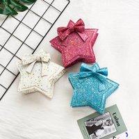 2021 Baby Girl Sac à bandoulière Sequin Sac Star Fived Star Kids Pentagram Messenger Sac Belle Princess Bowknot Sacs Pourse A194