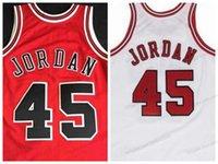 Özel retro michael # 45 üniversite basketbol forması erkek dikişli beyaz kırmızı herhangi bir boyut 2xs-5XL isim ve numara