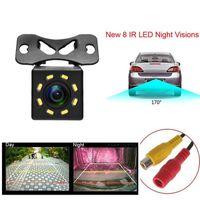 HD 8 LEDS Coche Vista trasera Cámara Visión nocturna Universal Reversa retrovisor Cámara 170 Cámara de estacionamiento de respaldo de coche de gran angular