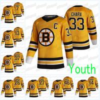 Gioventù Boston Bruins 2021 Reverse Retro Jersey John Moore Jake Debrusk Ray Bourque David Pastrnak David Krejci Zdeno Chara Patrice Bergeron