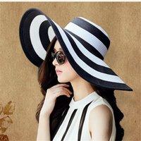 Été Chapeaux de soleil chapeau de soleil chapeau de visière Big BRim Classique Blanc Blanc Chapeau de paille à rayures Casual Casquette de plage d'extérieur pour femmes Protection UV Y200602