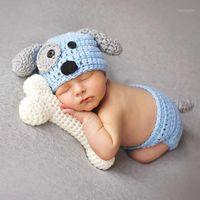 Abbigliamento Set 2pcs Puppy Dog Born Baby Boys Pografia Puntelli a maglia Infettivo Costume Animale Abiti Crochet Cappello Cappello Uncinetto Set di pannolini Blue1