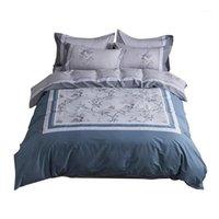 Blumen-Pastoralen-Bettwäsche-Set Queen King-Size-Größe Reiner Baumwolldruck Duvet Cover Bettsheets Kissenbezug1
