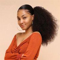 Kinky вьющиеся хвост человеческие волосы наращивание волос для волос для волос для волос для волос AFRO натуральные натуральные в хвост для женщин 1b Remy бразильские волосы
