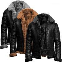 Jaquetas Plus Size Solta Lapela Pescoço Inverno Zipper Casacos Casuais Moda PU Couro Men Outerwear Mens Pu