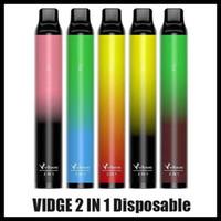 원래 Zidge 2in1 일회용 Vape 장치 3ml + 3ml 2000 퍼프 휴대용 포드 950mAh 2 in 1 빈 펜 키트 vs ezzy alphaa onee 스틱 플러스