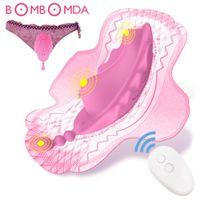 Panties wearable vibrador vibrador controle remoto sem fio borboleta vibrador fêmea masturbatir invisível adulto sexo brinquedo para mulher lj201124