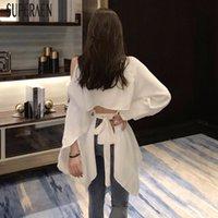 Superaen Корейский стиль женщины рубашка дикий хлопок темперамент с плеча блузки и вершины женские летние новая женская одежда 201125