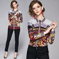 Frauen Blusen Hemden Banulin Mode Runway Tops Frauen Langarm Hemd Luxus Gedruckt Bluse Damen und Camisa Feminina1