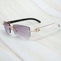 Ienbel Luxe Blanc Mélange Black Buffalo Horn Hommes Femmes Sunglasses Marque Designer Lunettes pour la pêche Rave Festival