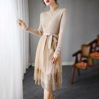 Zarif Saf Renk Elbise Kadınlar Dantel Örgü Patchwork Kazak Örme Elbise Tasarımcısı Kore Tarzı Ofis Lady Tatlı Vestidos Robe