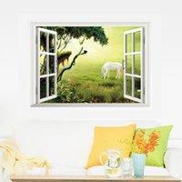 ملصقات الحائط وهمية نافذة 3d المشهد الجميل للديكور المنزل غرفة المعيشة الشارات جدارية ملصق ملصقا على