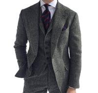 2021 Новый стильный свадьба смокинги елочные шерстяные серые мужские костюмы для формального делового жениха 3 шт. Tweed мужская куртка