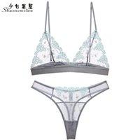 Shaonvmeiwu Sexy Broderie Broderie Sous-vêtement Transparent Sous-vêtement ultra-mince sans anneau en acier Perspective T-String B Y200708
