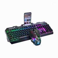 Клавиатуры Gaming Keyboard Mouse Computer Mechanic Seels Metal панель Держатель телефона Gamer RGB Backlit для дома Office1