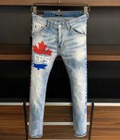 DSQ Phantom Tortue Classic Fashion Homme Jeans Hip Hop Rock Moto Mens Décontracté Design Décontracté Jeans Détonés Skinny Denim Biker DSQ Jeans 2033
