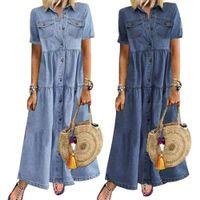 Summer Retro Women Dress Short Sleeve Turn Down Collar Pockets Buttons Long Loose Denim Female Fashion Vestidos F1130