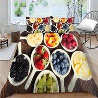 Meyve Serisi Yatak Seti Tek Yüksek Sonu Vintage 3D Berry Nevresim Yaratıcı Kraliçe Twin Tam Çift King Yatak Renkli