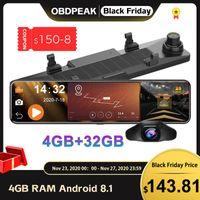 Video auto Android 8.1 4G + 32G 4G 12 pollici Specchietto retrovisore Stream Media GPS Navi Dash Cam Dual 1080p Camera Dvr Adas Super Night