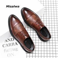 Misalwa Mens de couro casual sapatos Oxford Lace Up Negócios vestido de noiva sapatos homem maré grande tamanho 38-46 Dropshipping sola grossa 201215