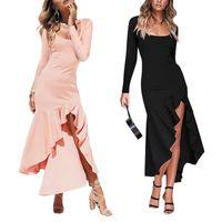 Kadın Tasarımcılar Güz Elbise Balık-Kuyruk Midi Uzun Kollu Kare Boyun Kız Moda Katı Renk Karın Kontrol Patchwork Plise Ön Bölünmüş Giysi