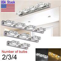 ABD hisse senedi kristal led ayna ışık AC110-240 V 2-4 kafaları led duvar ışık duvar aplik aydınlatma kapalı modern banyo kozmetik led ışıkları