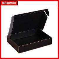 هدية التفاف 100x شعار مخصص المطبوعة المموج الورق المقوى ورقة البريد الأسود مربع التعبئة مربعات