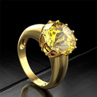 Round Top Quality Gemstone Gold Color Women's girl Wedding Engagement Rings 925 Sterling Silver Jewelry Ring