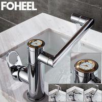 Foheel luxurious ouro prata relógio relógios gradue girating bacia torneira torneira torneira taucet água mixer tap sink1