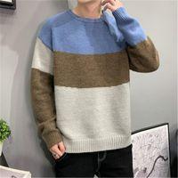 Мужские свитера пуловеры мужчины пэчворк с длинным рукавом панель осень осень зима корейский стиль 2021 модный отдых подростки трикотажные стильные
