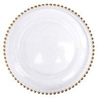 27 cm contas redondas pratos de vidro com ouro / prata / limpo frisado aro redondo jantar bandeja de serviço de casamento decoração gga3206 141 g2