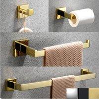 Conjunto de acessórios de banho ouro polonês banheiro hardware roupe gancho toalha de toalha barra tossue titular titular acessórios decoração