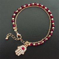 Heißer Verkauf Glücklich Fatima Hamsa Hand Blau Böse Eye Charms Armbänder Armreifen Multilayer Perlen Türkische Schmuck für Frauen 641 K2