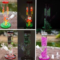 New 9 Inches Big Glass Bong Heady Oil Rig Diffused Downstem Glow In The Dark Dab Rigs Water Pipes freezable Glass Water Bongs Condenser Coil