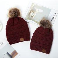 아기 엄마 pom poms 비니 니트 모자 두꺼운 따뜻한 겨울 모자 소프트 스트레치 니트 양모 두개골 비니 소녀 스키 모자