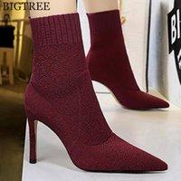 Çizmeler Kadın Çorap Sivri Toe Elastik Yüksek Topuk Ayak Bileği Üzerinde Kayma Stiletto Botas Zapatos De Mujer Ayakkabı Y917