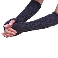 Five Fingers Gloves Women Ly Design Winter Warm Long Long Kniped Acrílico Acrílico Mittens1