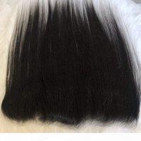 Прозрачный кружевной фронтальный 13x4 ухо для уха перуанские девственные волосы прямые кузова волна кружева лобное закрытие предварительно сорванный волос горячая распродажа